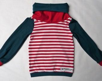 Striped sweater for children with Loopkragen, petrol, cherry red, skull, cotton, size 74-140,Unisex,für girls and boys