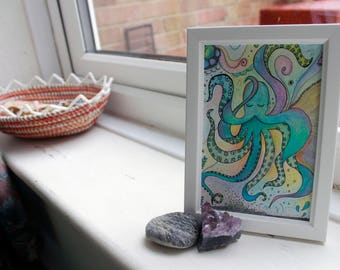 Lonely Octopus - underwater octopus, surreal crayon drawing