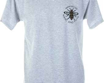 Grey Manc and Proud Manchester Bee Gold Vinyl T-Shirt (TSHIRT1)  Produced in UK Hacienda Northern