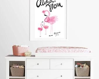 Aloha, Mom, Art for the kids room, Flamingos Print, Kids Room Decor, Nursery, Hawaii, Home, Wall Art, Decoration, Aloha