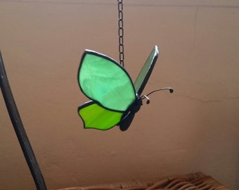 Tiffany stained glass butterfly mobile with tin body and feelers, colorful glass butterfly suncatcher in stained glass to hang or give away