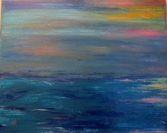 Abstract Art Original Acrylic Ocean Sunset
