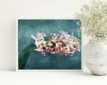 Blush pink teal wall decor, Sea green arts, Printable photo 8x10, digital picture, Pale pink flower photography, Living decor, Floral decor