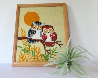 Nursery Decor, Nursery Animals, Nursery Animal Art, Bird Crewel, Owl Crewel, Framed Embroidery, Vintage Crewel, Vintage Bird, Nursery Art