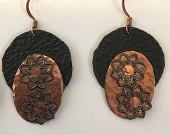 Copper and Genuine Leather Earrings