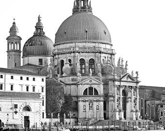"Venice Italy Black&White Digital printable art 300dpi 24x36  and 8x12 ""SANTAMARIA della SALUTE"""