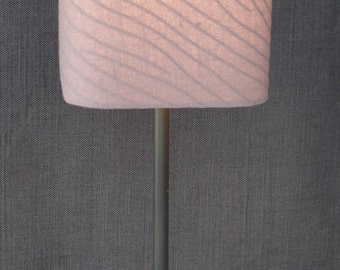 Lamp with shade 100% linen color rose wood - Brown aluminum lamp