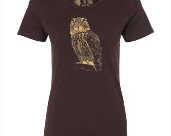 Women's Owl T Shirt, 10% Donated to Animal Causes, Wildlife Tee, Animal Gift, Spirit Animal T-Shirt