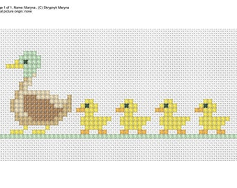PDF cross stitch Duck and Ducklings embroidery Pattern// Duck and Ducklings cross stitch Pattern// Kids Embroidery Pattern