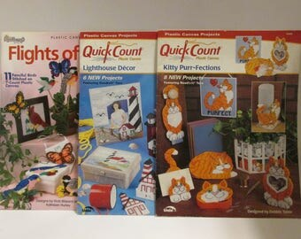 3 Plastic Canvas patterns leaflets quick count the needlecraft shop flights of fancy Kitty purr-fections Lighthouse Decor Lot#4