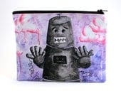 I Will Never Be The Same Again - Zipper Pouch - Distressed Robot with Cassette Tape Heart - Art by Marcia Furman