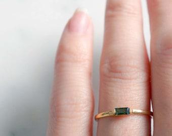GOLD lana - pink or green tourmaline baguette gemstone ring. gold vermeil slim stacking rings. dainty minimalist