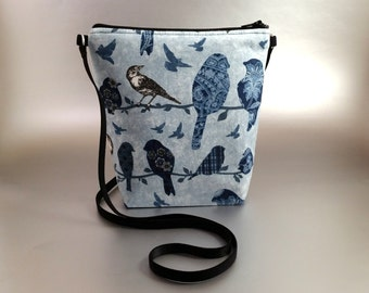 Songbirds - Small - Cross Body Tote - Lightweight - Zippered bag - Tote bag - Blue - Black - White - Birds - Sparrow- Finch