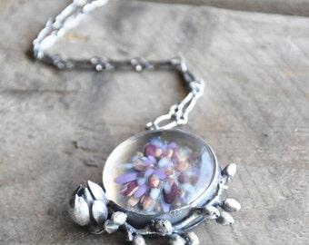 Glass Botanical Pendant / Modern Jewelry