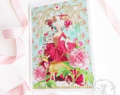 Marie Antoinette romantic card with pink roses and a deer, Valentine, friendship all occasion, blank inside