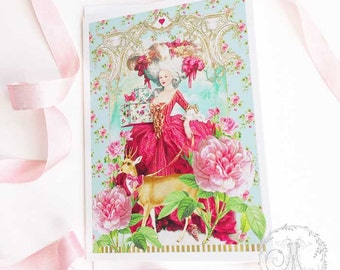 Romantic Marie Antoinette card, with deer, birthday card, blank all occasion card
