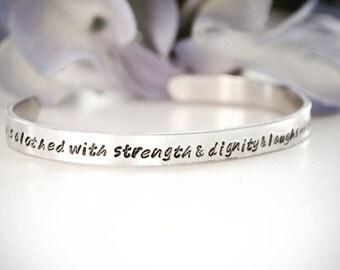 Proverbs 31 Scripture Stamped Metal Bracelet