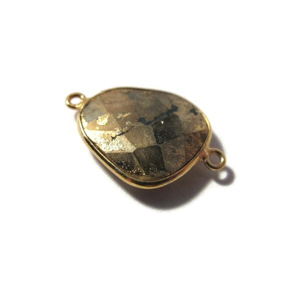Irregular Pyrite Charm, Fool's Gold Pendant with Gold Plated Bezel, Faceted Double Sided Gemstone, Two Loops (C-Py3b2)