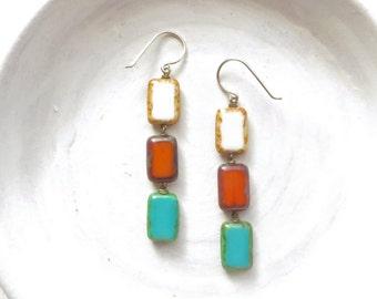 Turquoise Earrings / Statement Earrings / Beaded Earrings / Contemporary Earrings / Turquoise Jewelry / Boho Jewelry / Beaded Jewelry / Gift