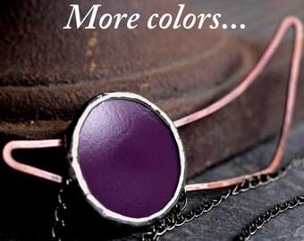 asymmetrical necklace purple circle mod modern minimalist stained glass grape plum copper heat patina wire circle SUNSET NECKLACE