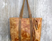Distressed Leather Tote in Italian Honey Brown Glazed Leather by Stacy Leigh