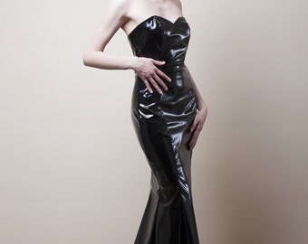 Black PVC Mermaid Dress-Small (Sample Sale)