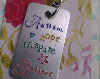 Handstamped Autism Postive  Keychain - Autism hope inspire Believe - Autism Spectrum Gift - Aspergers - Charity Fundraiser - Motivational
