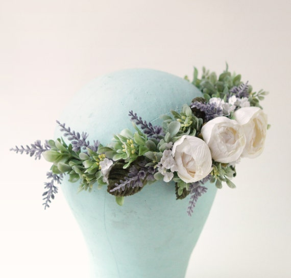 White rose woodland crown, Lavender and greenery, Artificial floral head wreath, Bridal hair crown, Light ivory flower wreath, Wedding hair