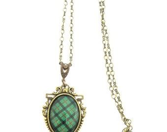 Scottish Tartan Jewelry - Ancient Romance Series - Kincaid Clan Tartan Ornate Filigree Necklace with Sgian Dubh Charm