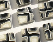 Nine square handmade polymer clay sewing buttons, unique set of 9, black and white