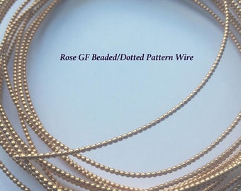Rose Gold Filled Beaded, Dotted Wire 1.50mm (14 Gauge),1 Foot (30.48 cm), Continuous, CAN BE SOLDERED, Gallery Pattern Wire, Full Bead