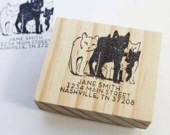 cat address stamp etsy
