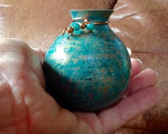 Tiny Patina Vase w Peafowl Feather