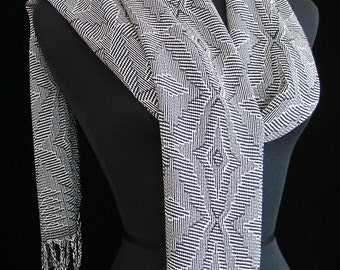 Handwoven Scarf Tencel Scarf Long Scarf Black and White Scarf Gift for Her Soft Scarf! - Winter Snowflake