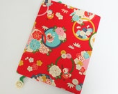Composition Book & Handmade Cover Sewn from Red Floral Japanese Fabric with Chicks, Rick Rack and Vintage Button Bookmark, Reusable
