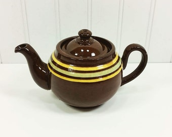 Small A L B Brown Betty Teapot with Tan and Green Stripes, Redware Made in England