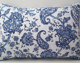 Lavender Buckwheat Pillow - Fresh Blue Floral and Paisley