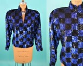 1980s jacket | blue black vintage sequin top | checkerboard zip up jacket M/L