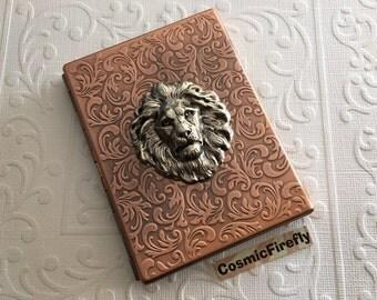 Lion Cigarette Case Antiqued Copper Slim Large Card Holder Gothic Victorian Steampunk Accessories Silver Lion Head Big Card Wallet Metal NEW