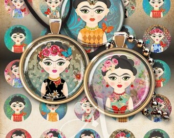 "1"" (25mm) and 30 mm size Printable LITTLE FRIDA circle images for pendants and craft downloadable images print-it-yourself sheets by ArtCult"