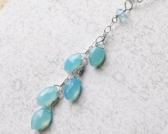 "Blue Chalcedony Necklace, Sterling Silver Necklace - ""Rain"" by CircesHouse on Etsy"