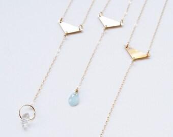 Aquamarine Triangle Gold Necklace