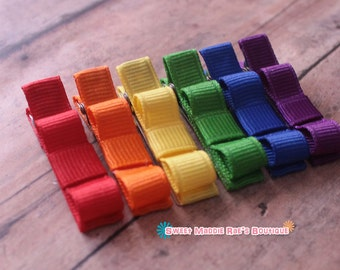 Girls Hair Clips--Set of 6--Rainbow