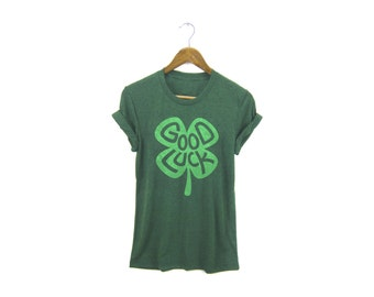 St Patricks Day Shirt - Good Luck Tee - Boyfriend Fit Crew Neck T-shirt with Rolled Cuffs in Heather Grass Green - Women's Size S-4XL