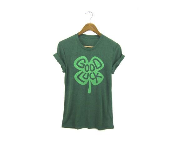 St Patricks Day Shirt - Good Luck Tee - Boyfriend Fit Crew Neck T-shirt with Rolled Cuffs in Heather Grass Green - Women's Size S-4XL
