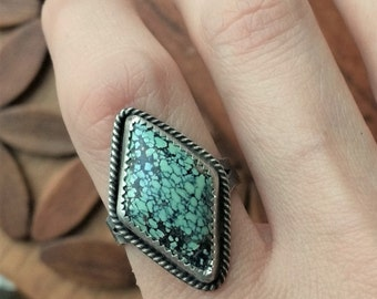 Natural Peacock Turquoise Geometric Ring Sterling - Size 8 - Boho Bohemian Hippie ponderbird