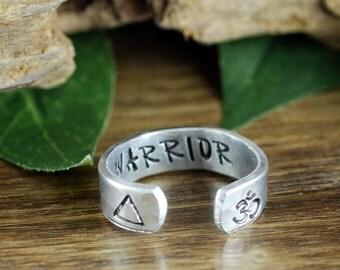 Om Ring, Inspirational Ring, Warrior Ring, Secret Message Ring, Boho Ring, Bohemian Ring, Personalized Ring, Personalized Cuff Ring