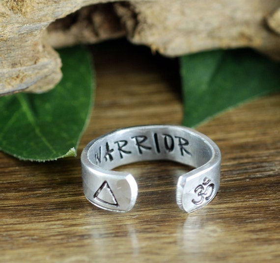 Om Ring, Inspirational Ring, Warrior Ring, Secret Message Ring, Boho Ring, Bohemian Ring, Personalized Ring, Personalized Cuff Ring