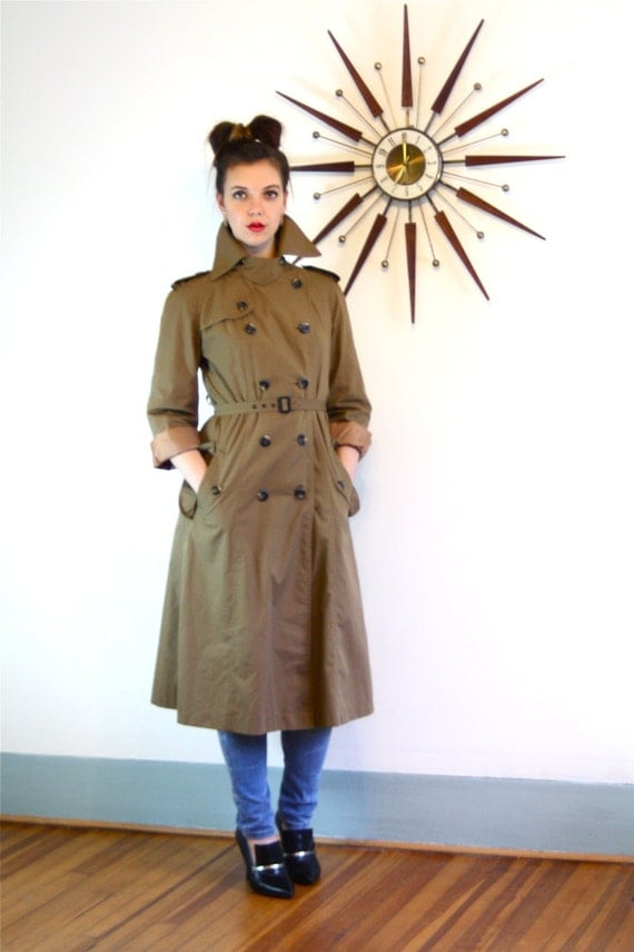 Vintage 70s Trench Coat Double Breasted Dark Khaki Rain Jacket Belted Ladies Trench Chestnut Brown Lapel Flap 1970s Womens Long Trechcoat