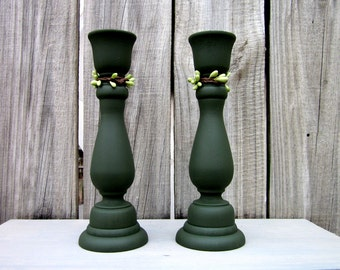 Candle Holders, Green, Taper Candles, Green Pip Berries, Candle Sticks, Pair, Set of Two, Cottage Chic, Painted Wood, Home Decor